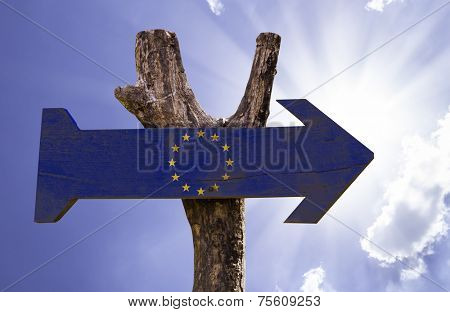 European Union wooden sign on a beautiful day