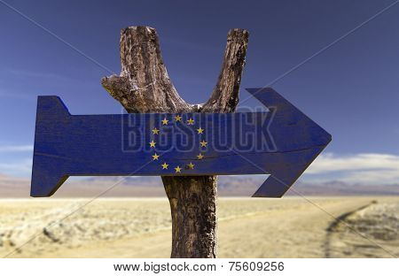 European Union wooden sign with a desert background