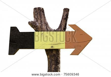 Belgium wooden sign isolated on white background