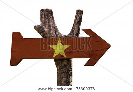 Vietnam wooden sign isolated on white background