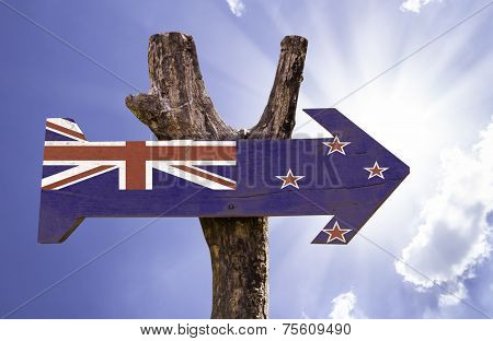 New Zealand wooden sign on a beautiful day