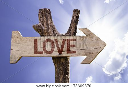 Love wooden sign on a beautiful day