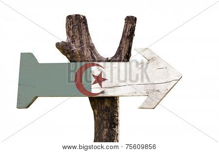 Algeria wooden sign isolated on white background