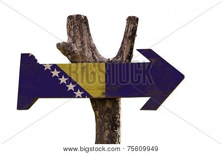 Bosnia and Herzegovina wooden sign isolated on white background