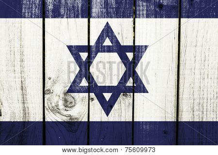 Israel flag on wooden background