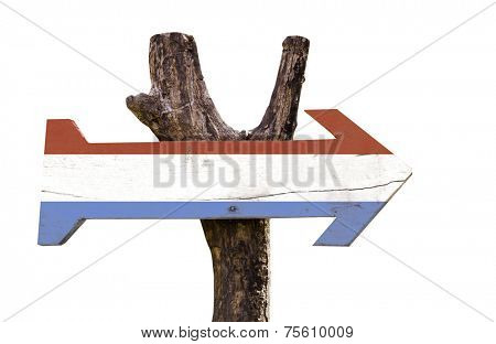 Luxembourg wooden sign isolated on white background