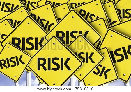 Risk written on multiple road sign