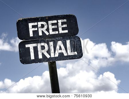 Free Trial sign with clouds and sky background