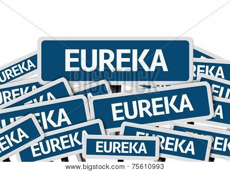 Eureka written on multiple blue road sign