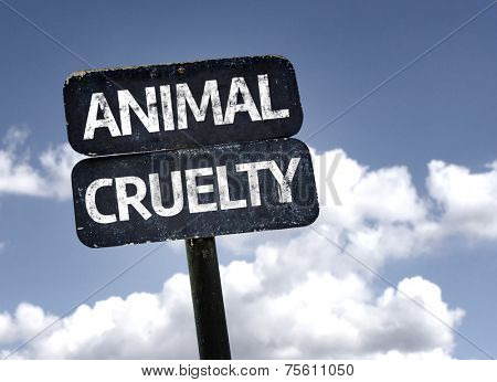 Animal Cruelty sign with clouds and sky background