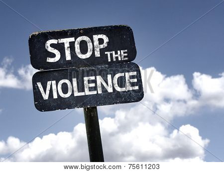 Stop the Violence sign with clouds and sky background