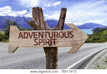Adventurous Spirit wooden sign with a street background