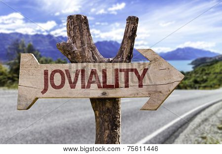 Joviality wooden sign with a street background