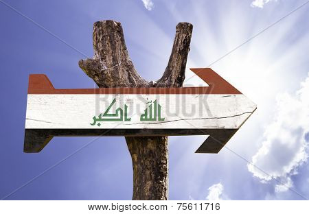 Iraq wooden sign on a beautiful day