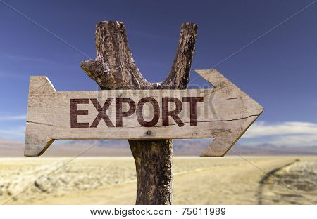 Export wooden sign with a desert background