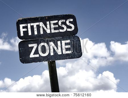 Fitness Zone sign with clouds and sky background