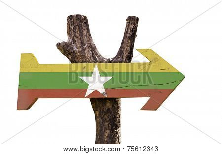 Myanmar wooden sign isolated on white background