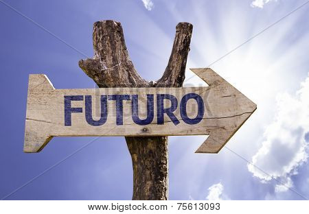 Futuro (In portuguese: Future) sign with a beautiful day on background