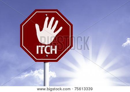 Stop ITCH red sign with sun background