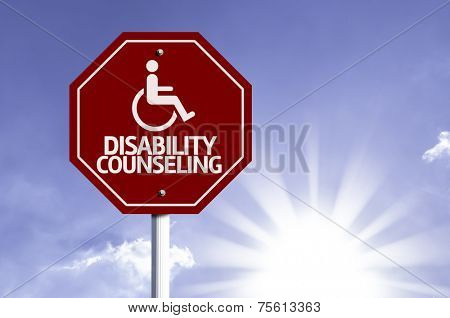 Disability Counseling with Disabled Icon sign with sun background