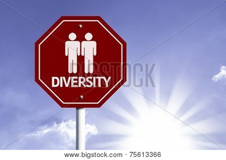Diversity with Two Guys Icon sign with sun background