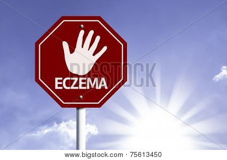 Stop Eczema red sign with sun background