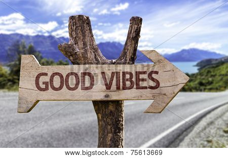 Good Vibes wooden sign with a landscape on background