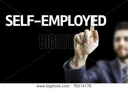 Business man pointing to black board with text: Self-Employed