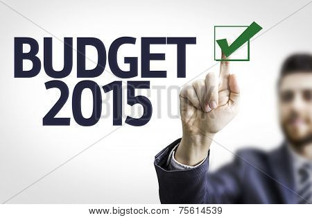 Business man pointing to transparent board with text: Budget 2015