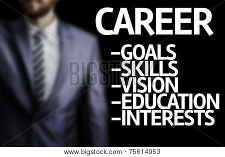 Career description written on a board with a business man on background