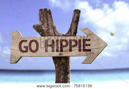 Go Hippie wooden sign with a beach on background