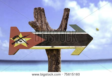 Mozambique sign with a beach on background