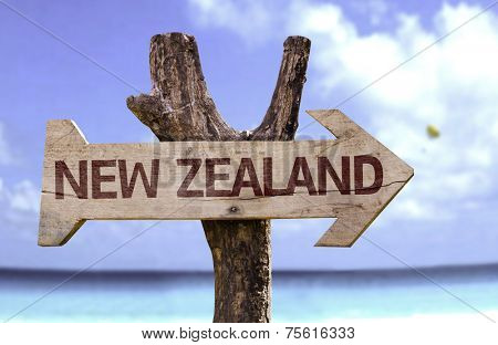 New Zealand wooden sign with a beach on background