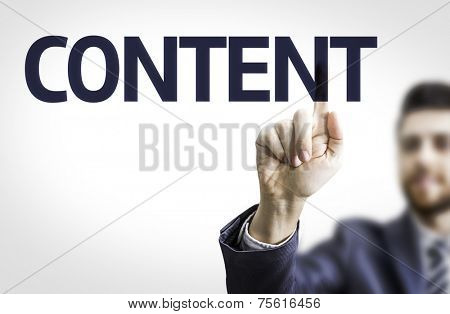 Business man pointing to transparent board with text: Content