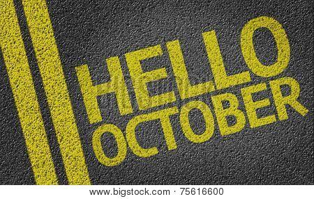 Hello October written on the road