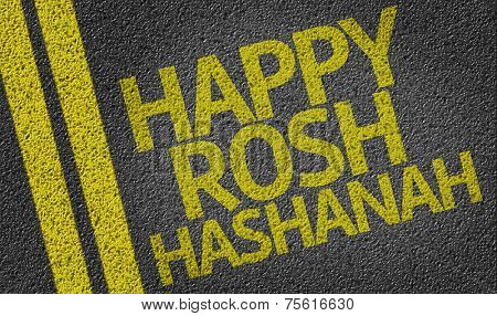 Happy Rosh Hashanah written on the road