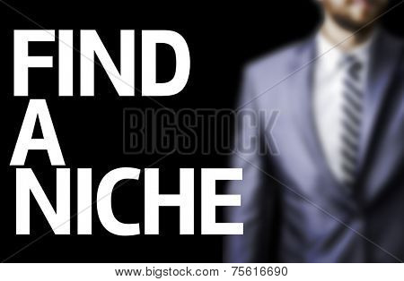 Find A Niche written on a board with a business man on background