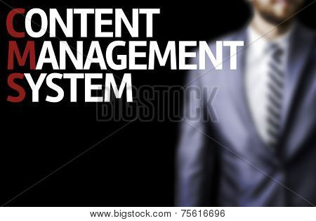Content Management System written on a board with a business man on background