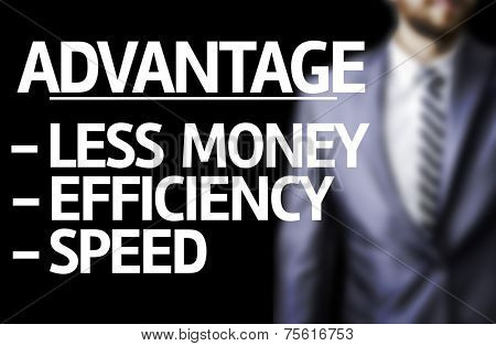 Description of Advantage  written on a board with a business man on background