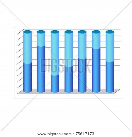 vector 3d cylinder chart diagram blue graph