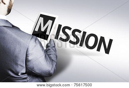 Business man with the text Mission in a concept image