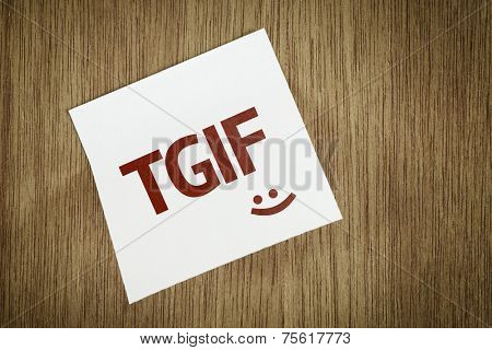 TGIF on Paper Note on texture background