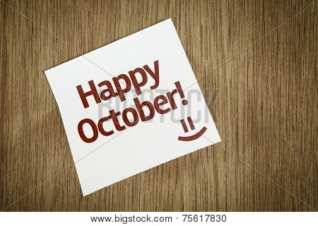 Happy October on Paper Note on texture background