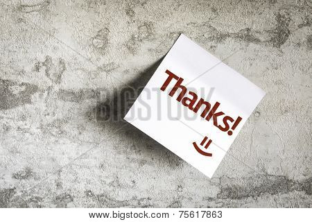 Thanks on Paper Note on texture background