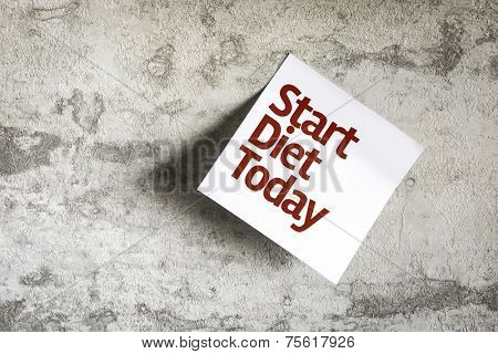 Start Diet Today on Paper Note with texture background