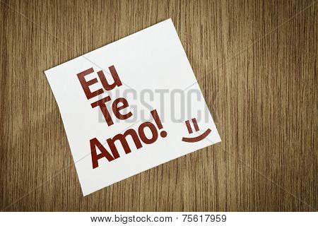 I Love You (In portuguese) on Paper Note on texture background