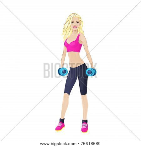 Sport woman hold dumbbells fitness trainer, hot sexy girl bodybuilder athletic muscle