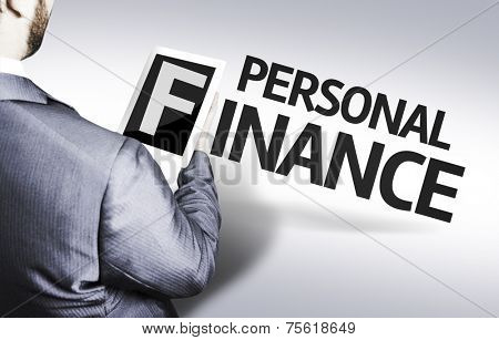 Business man with the text Personal Finance in a concept image
