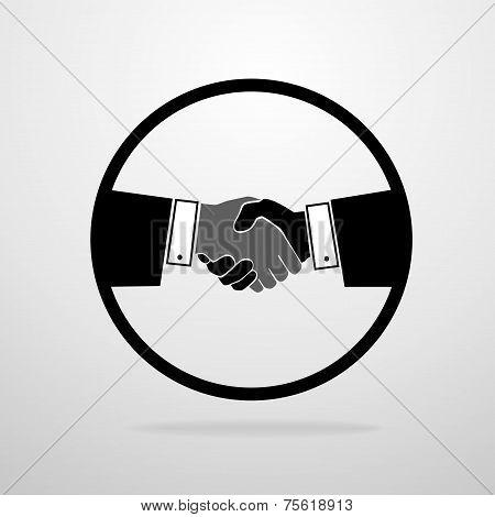 Handshake icon vector silhouette business hands shake