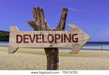 Developing wooden sign with a beach on background
